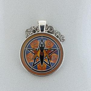 Pentagram Triple Moon Glass Cabochon Necklace